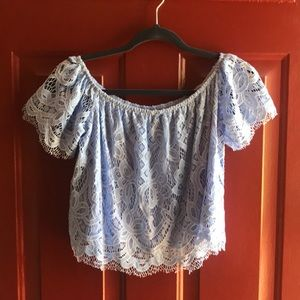 EXPRESS periwinkle blue lace crop top